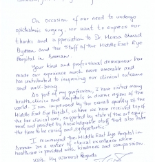 Thank you letter from a Spanish patient